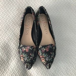 Sole Society Floral Embroidered Flats